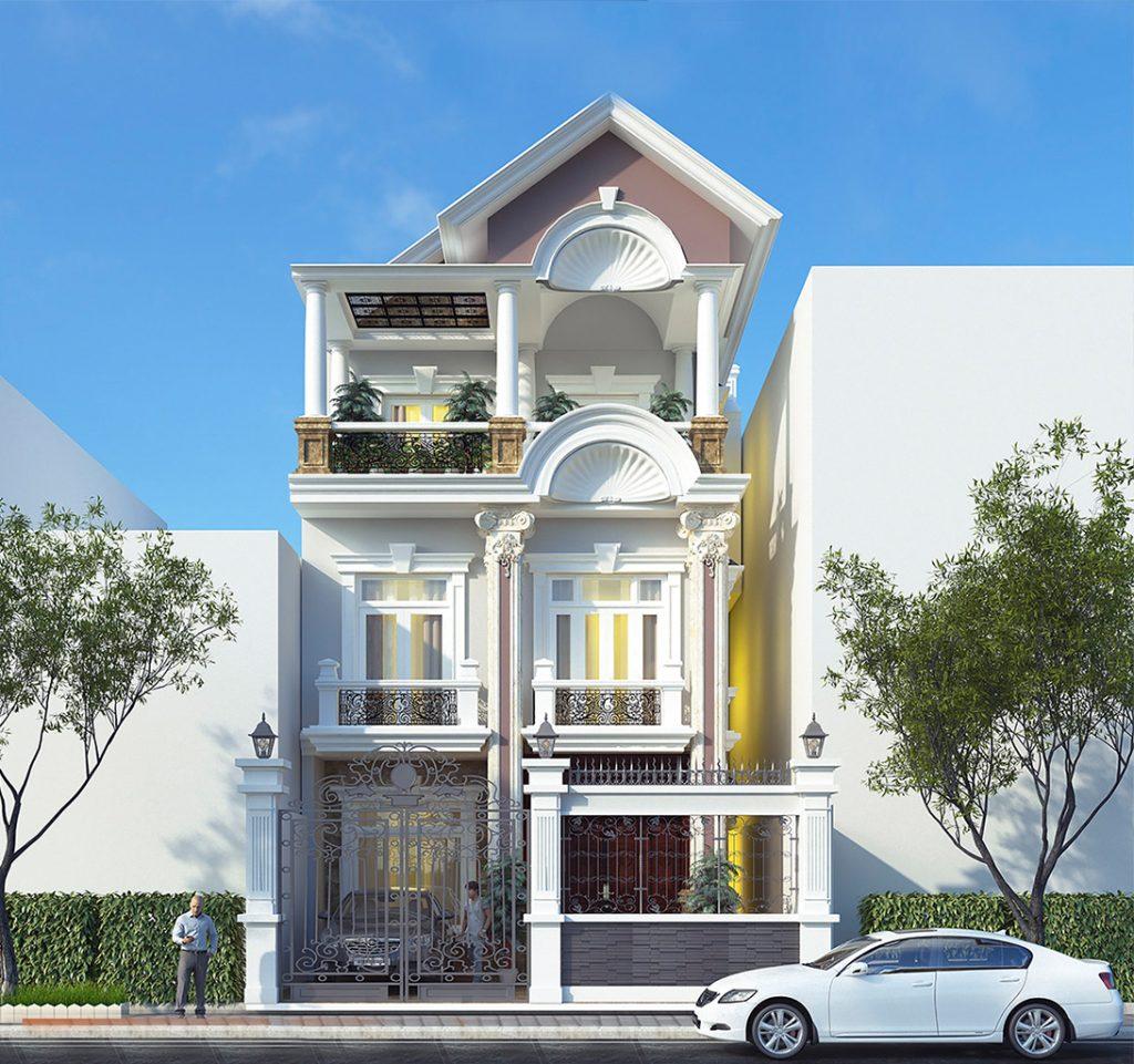 Thiết kế biệt thự tân cổ điển 3 tầng với mặt tiền 8m