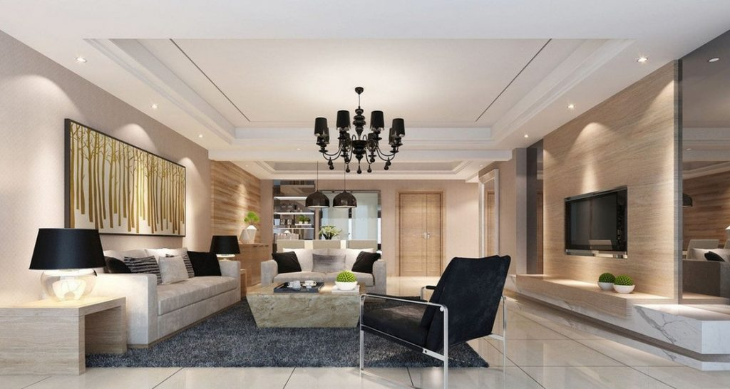 Thiết kế nội thất phòng khách đẹp hiện đại sang trọng